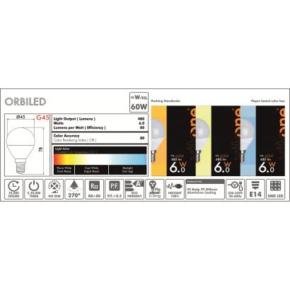 Led Σφαιρική E14 6W/6400K