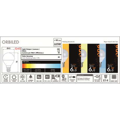 Led Σφαιρική E27 6W/6400K