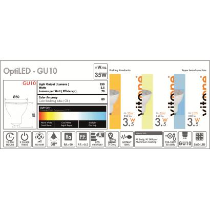 LED GU10 3,5W/6400K/240V
